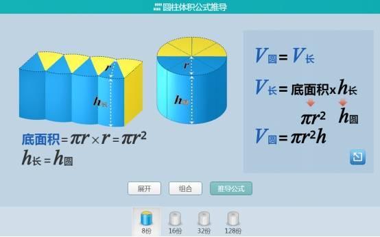 101教育PPT的圆柱体积公式的推导模拟了圆柱体切割的过程,将圆柱图片