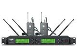 LUNBK品牌  话筒设备  M-8200U  真分集话筒一拖二无线领夹 头戴 手持麦克风可调频话筒